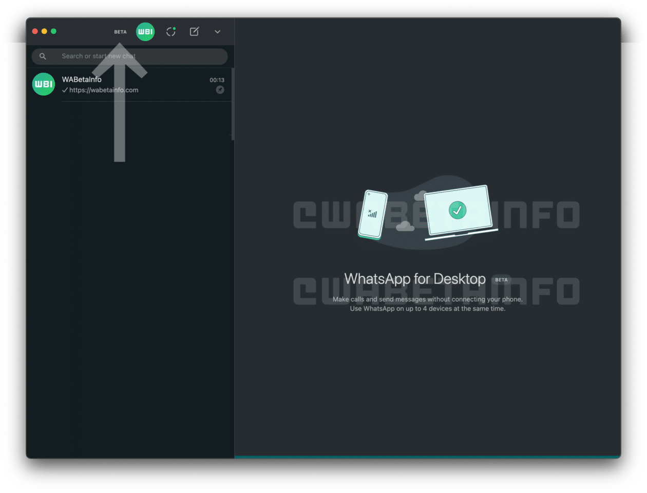 WhatsApp beta para desktop