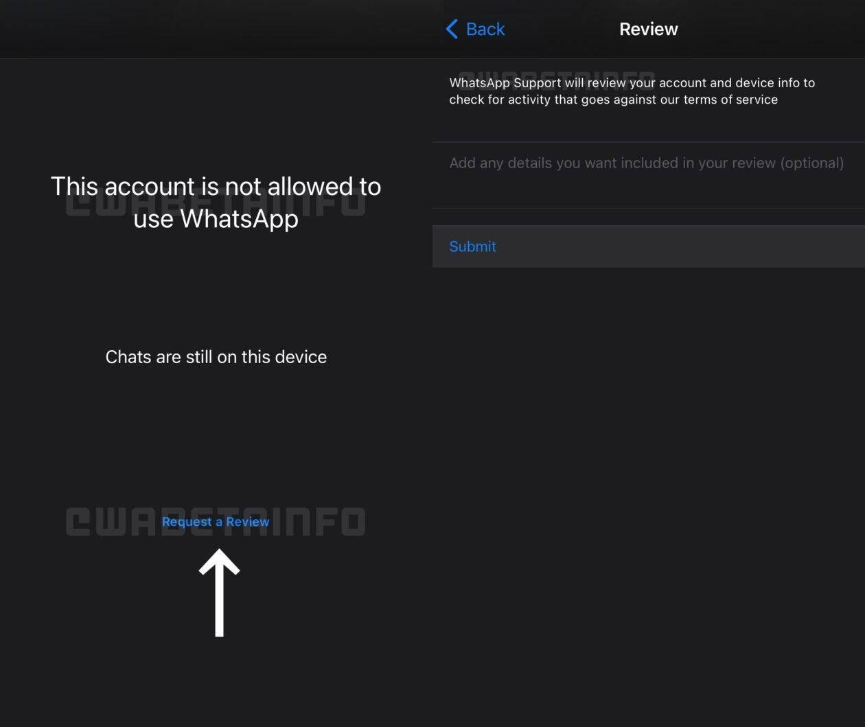 Novo recurso do WhatsApp para rever banimentos no próprio app, apontado pelo WABetaInfo