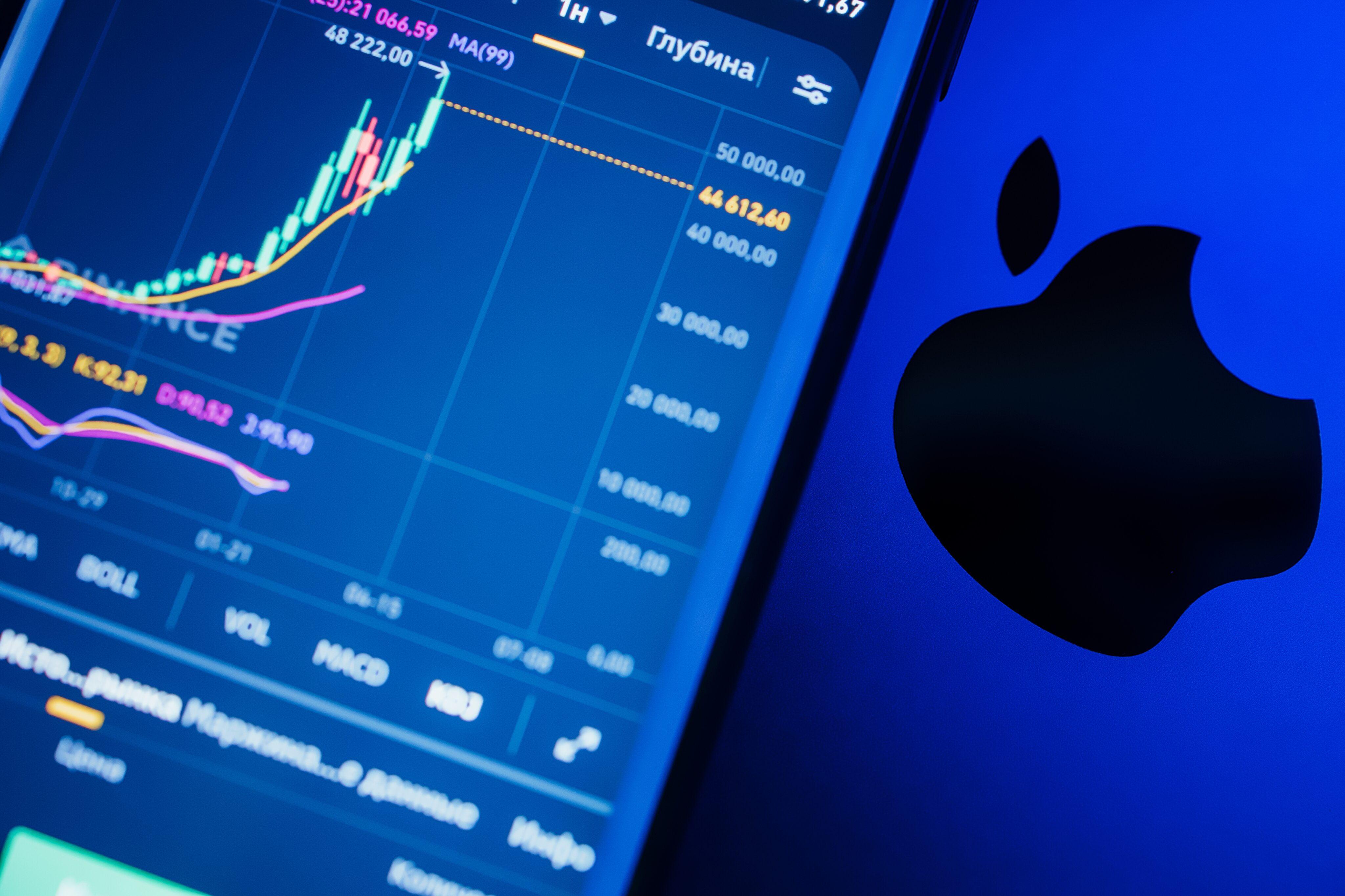 Logo da Apple e gráfico de ações