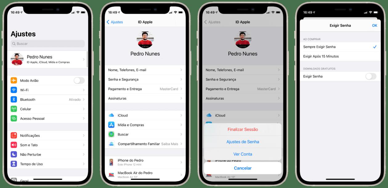 Ajustes de senha para compras no ID Apple