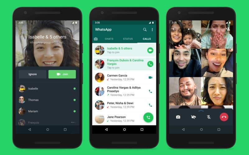 Novos recursos de chamadas em grupo no WhatsApp