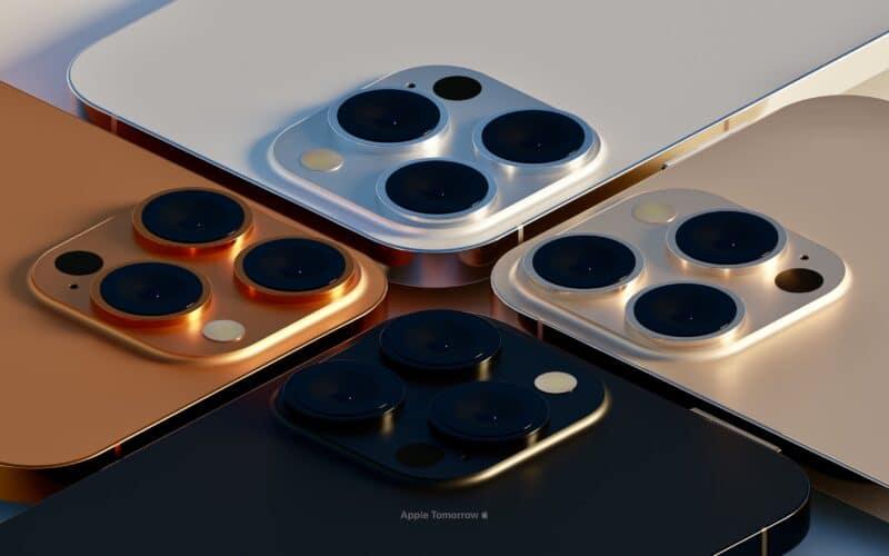 "Supostas novas cores dos ""iPhones 13 Pro"", feitas pelo Apple Tomorrow"