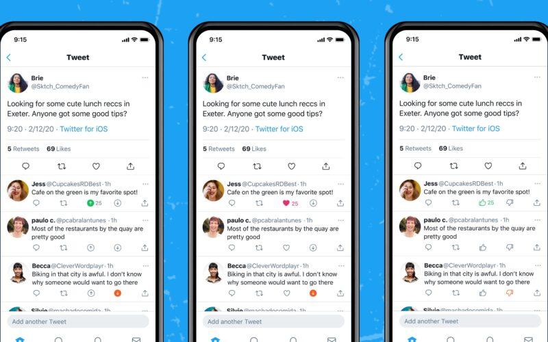 Twitter testando botão de dislike