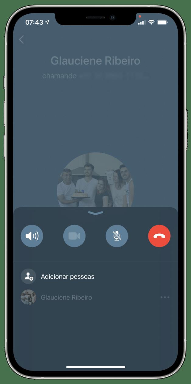 Nova interface de ligação do WhatsApp