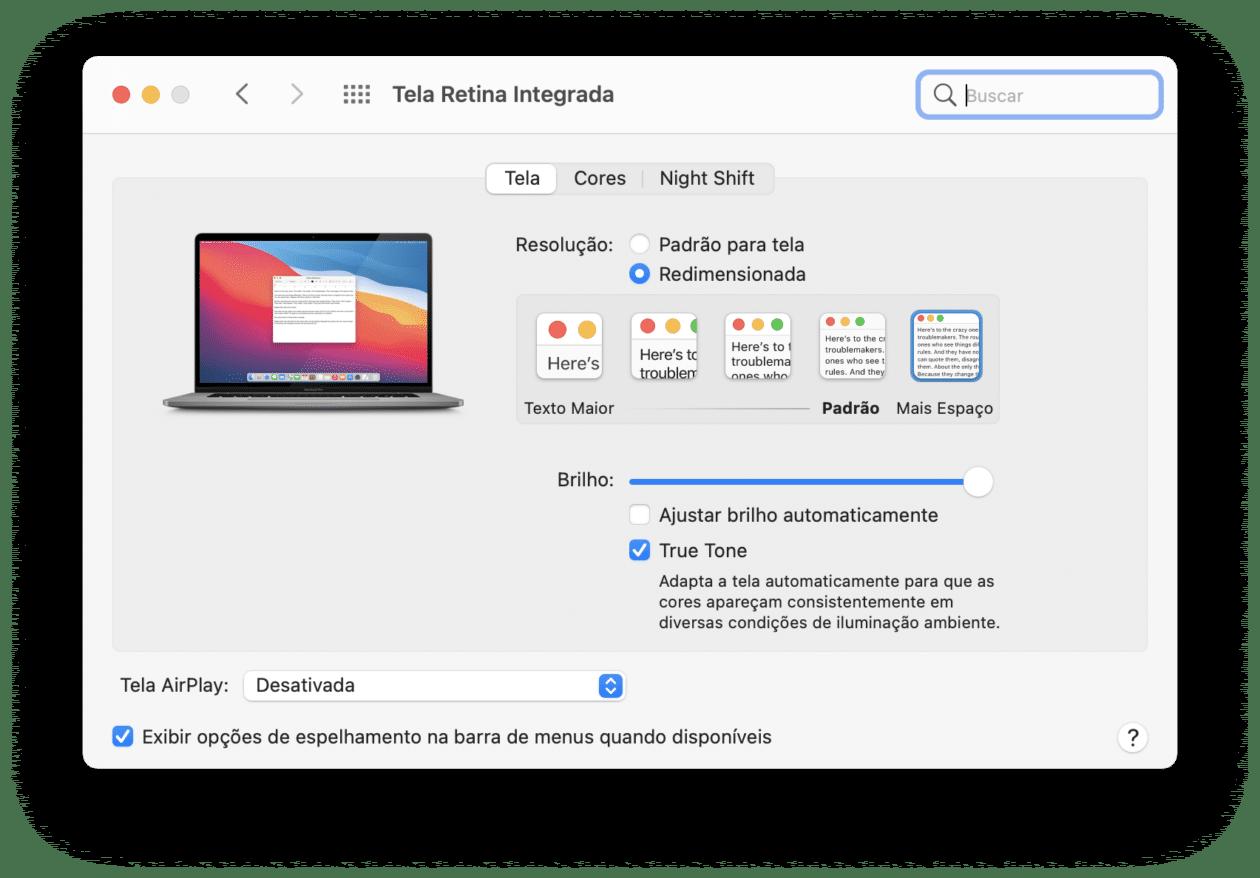 Resolução da tela do Mac