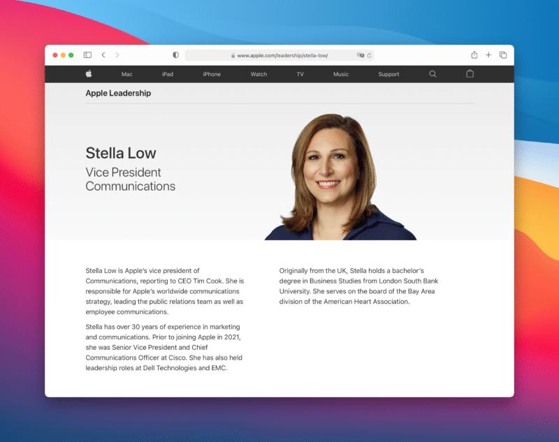 Página de Stella Low no Apple Leadership