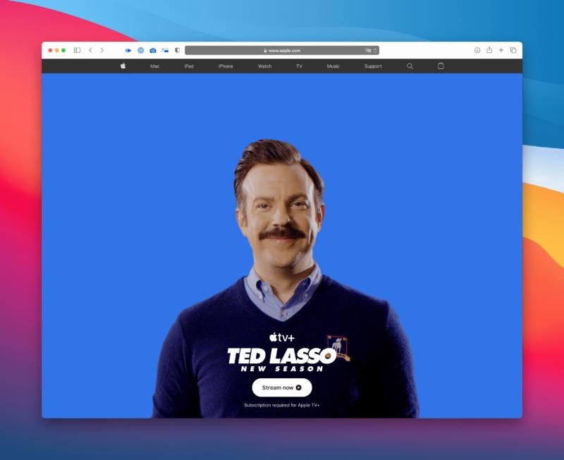 """""""Ted Lasso"""" na página inicial do Apple.com"""