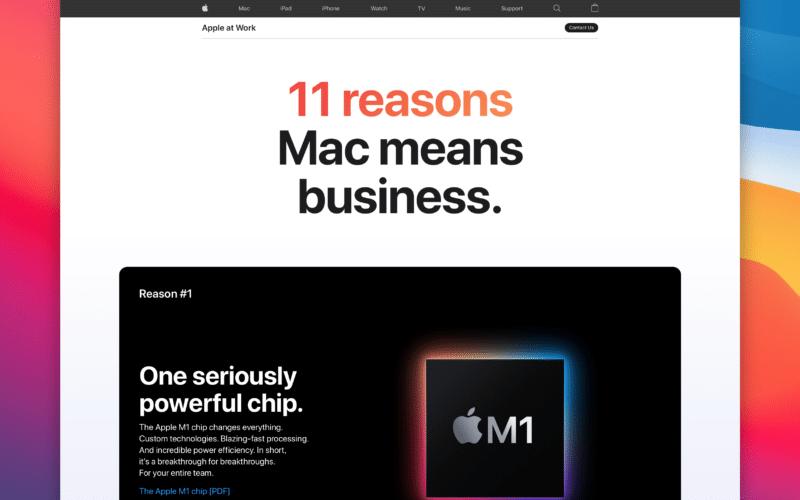 Página de negócios da Apple