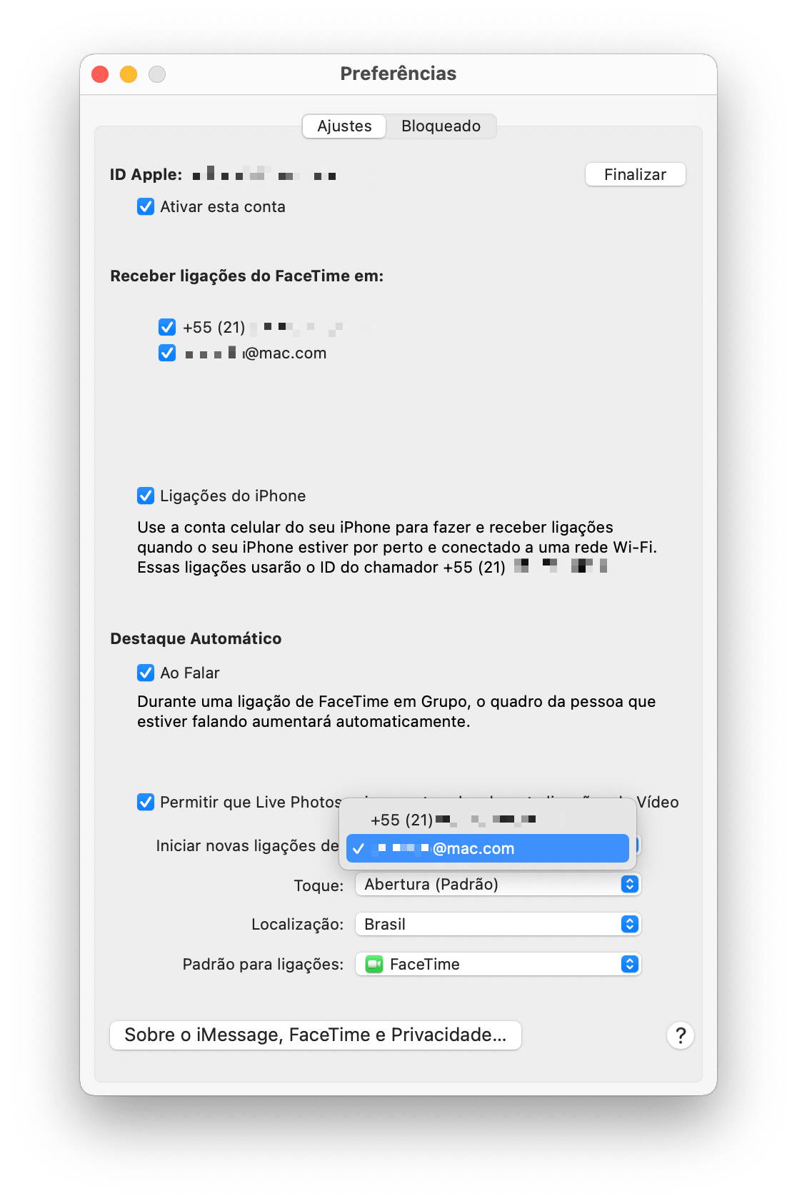 ID de chamador no FaceTime do Mac