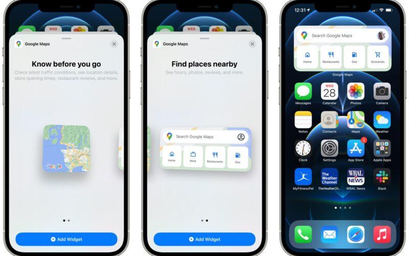 Widgets do Google Maps no iPhone