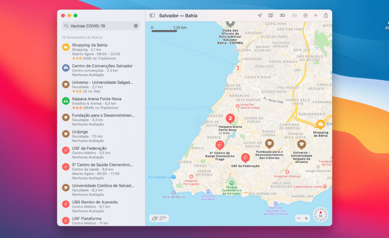 Locais de vacinação contra COVID-19 no Brasil nos Mapas da Apple