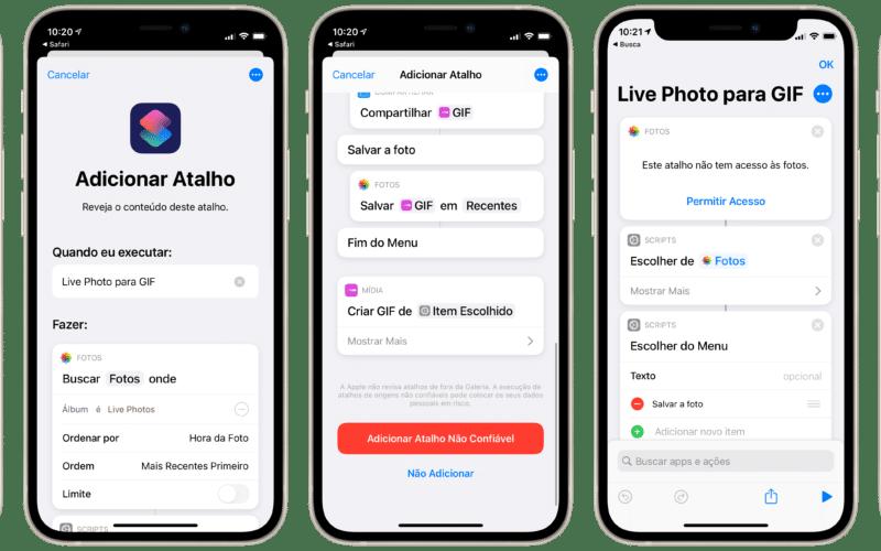 Atalho para converter Live Photo em GIF