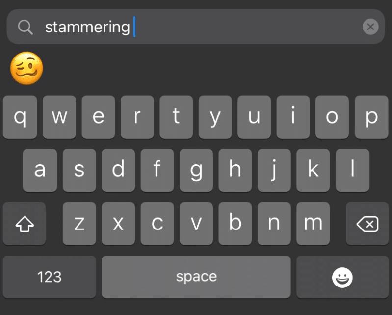 """Predição do """"woozy face"""" ou """"cara tonta"""" ao digitar """"stammering"""" no teclado do iOS"""