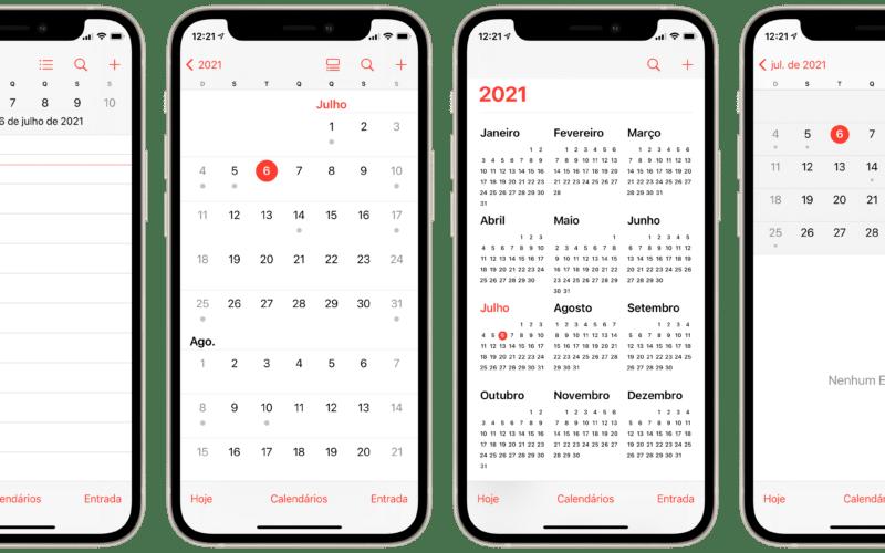 Diferentes visualizações do calendário no iPhone
