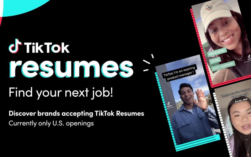 TikTok Resumes, recurso de currículos e empregos da rede