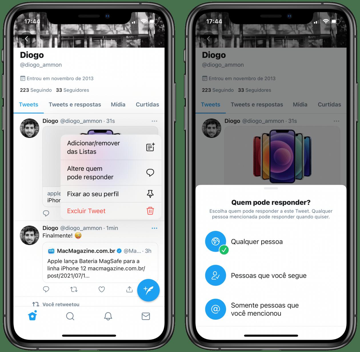 Configurações de resposta Twitter