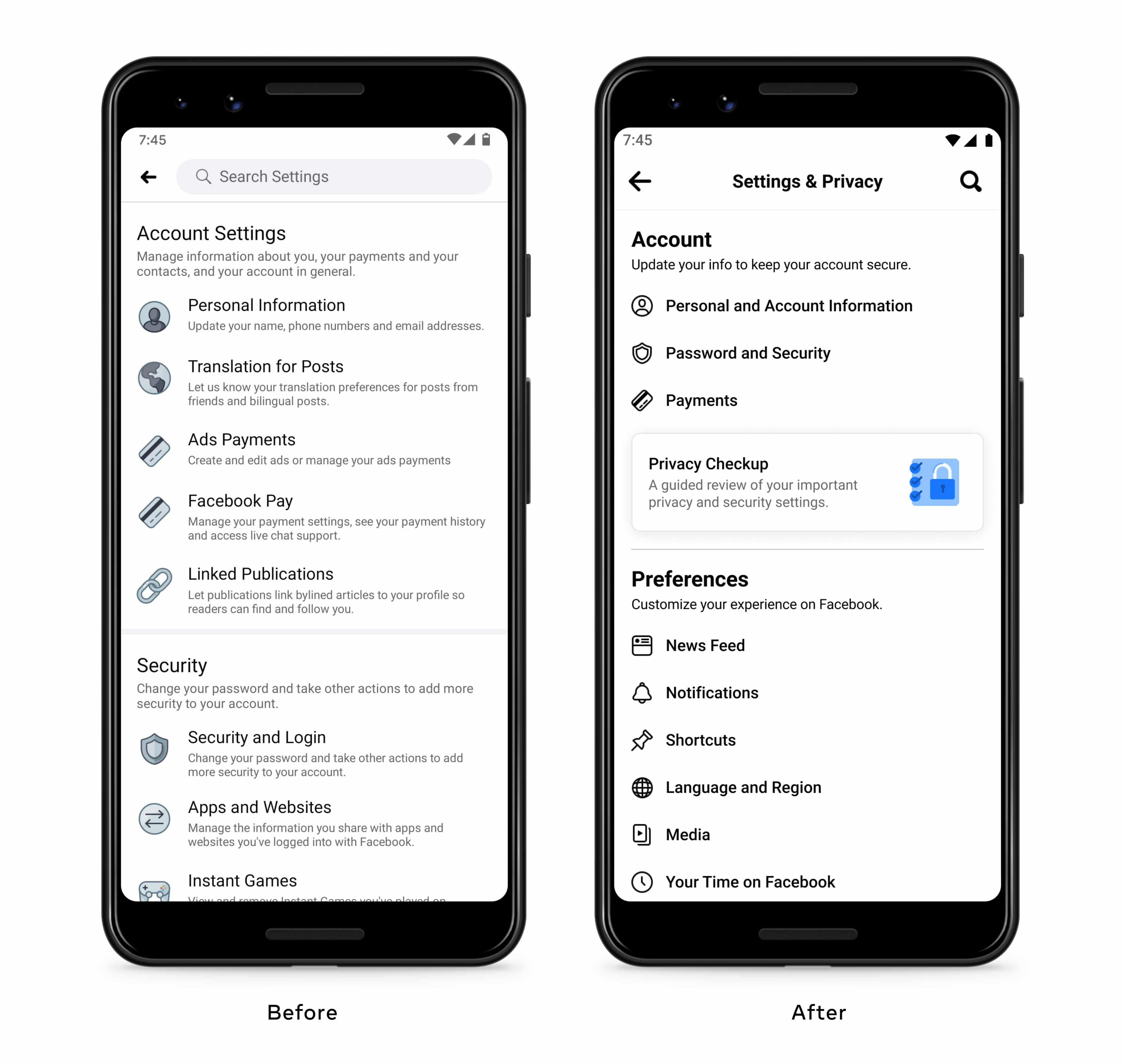 Novo menu das configurações do Facebook