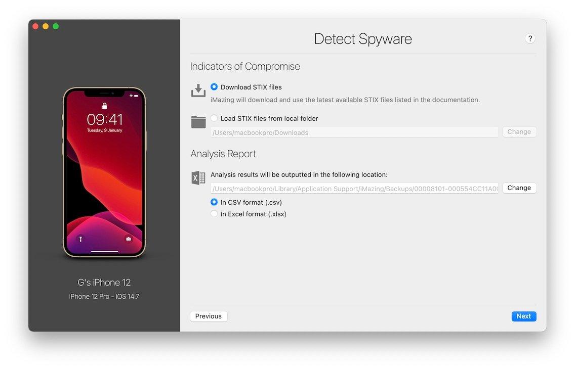 Ferramenta de deteção de spyware do iMazing