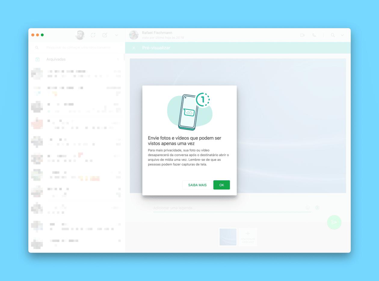 Visualização única (fotos e vídeos) no WhatsApp Desktop