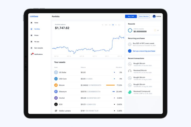 Coinbase no iPad