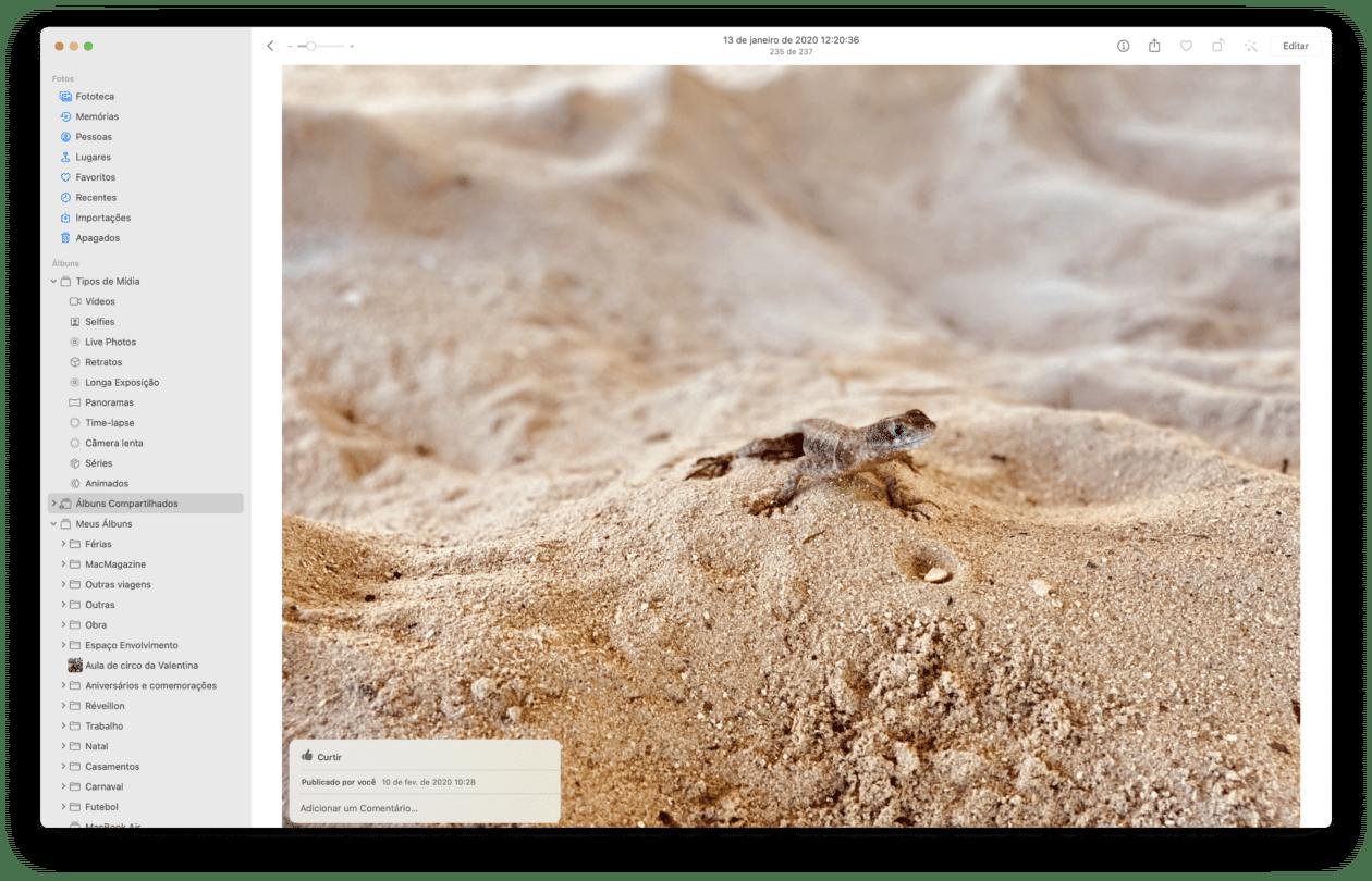 Álbuns compartilhados no Fotos do macOS
