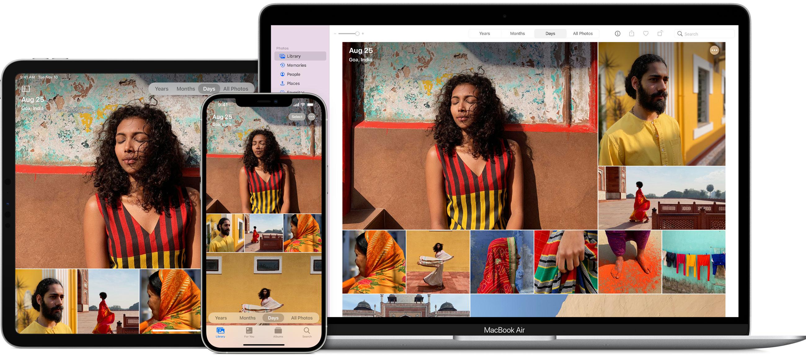 App Fotos no iPhone/iPad e no Mac