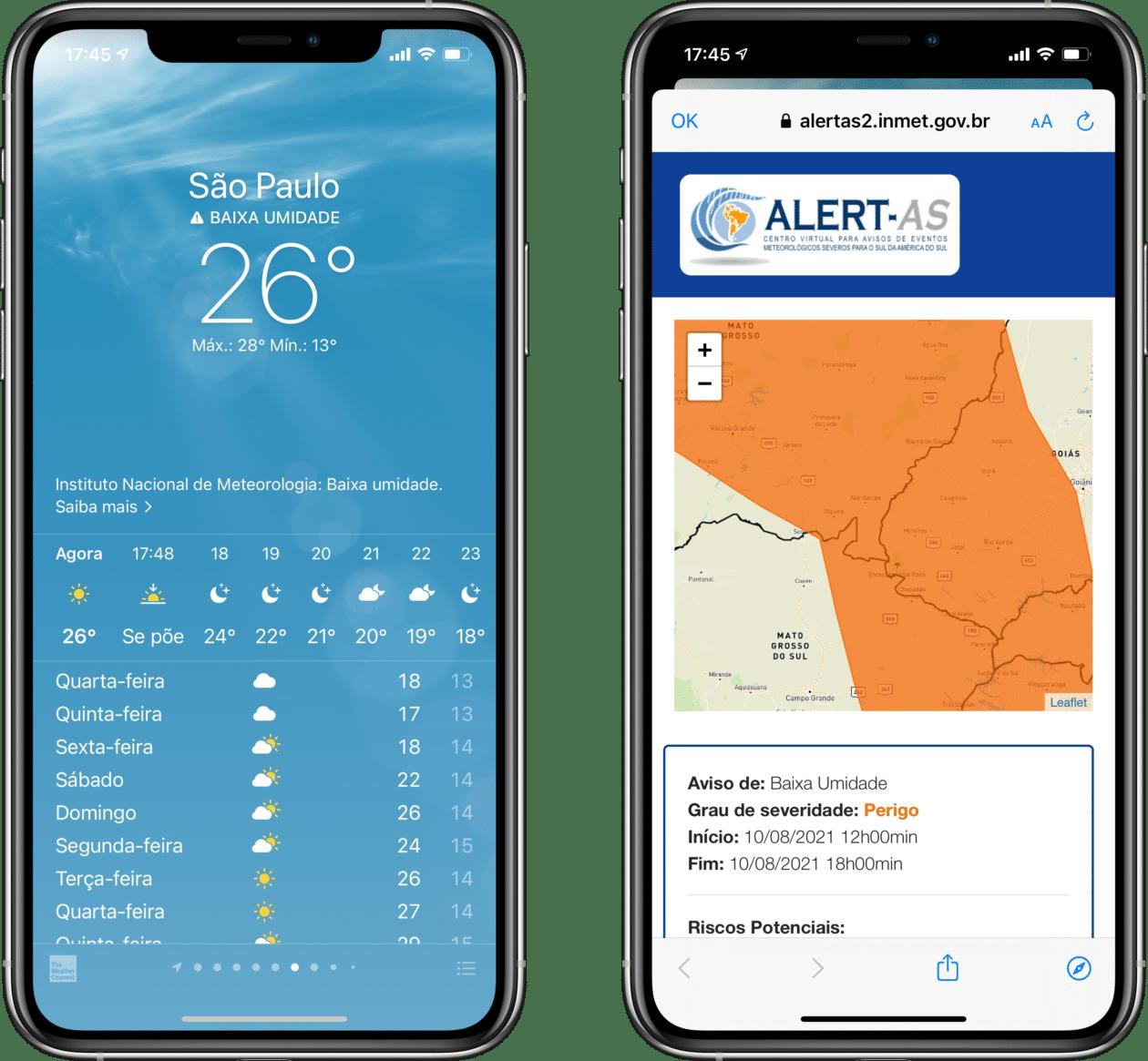 Aviso metereológico do INMET no app Tempo, do iOS