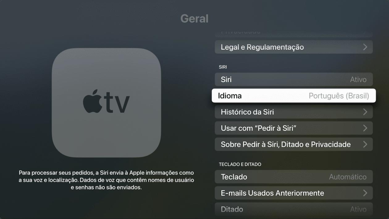 Idioma na Apple TV
