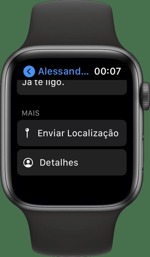 Compartilhando a localização no Mensagens (Apple Watch)