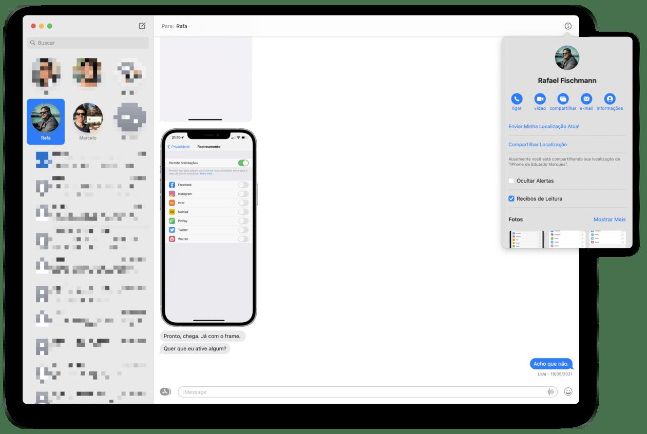 Compartilhando a localização no Mensagens (Mac)