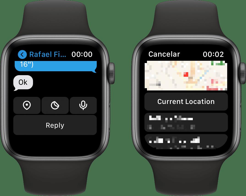 Compartilhando a localização no Telegram (Apple Watch)