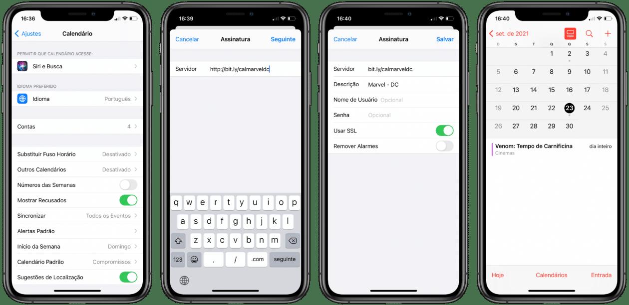 Assinando calendários no iPhone