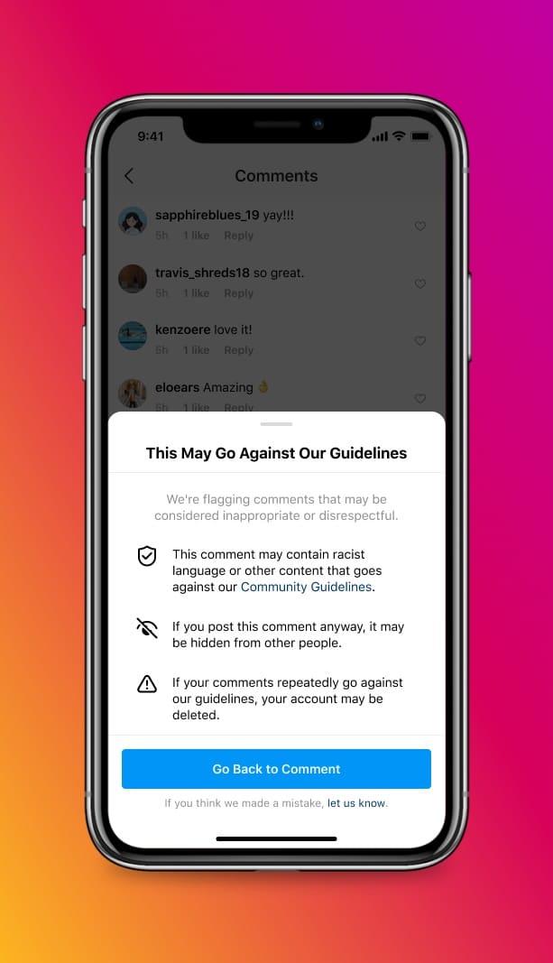 Novos recursos do Instagram contra abuso