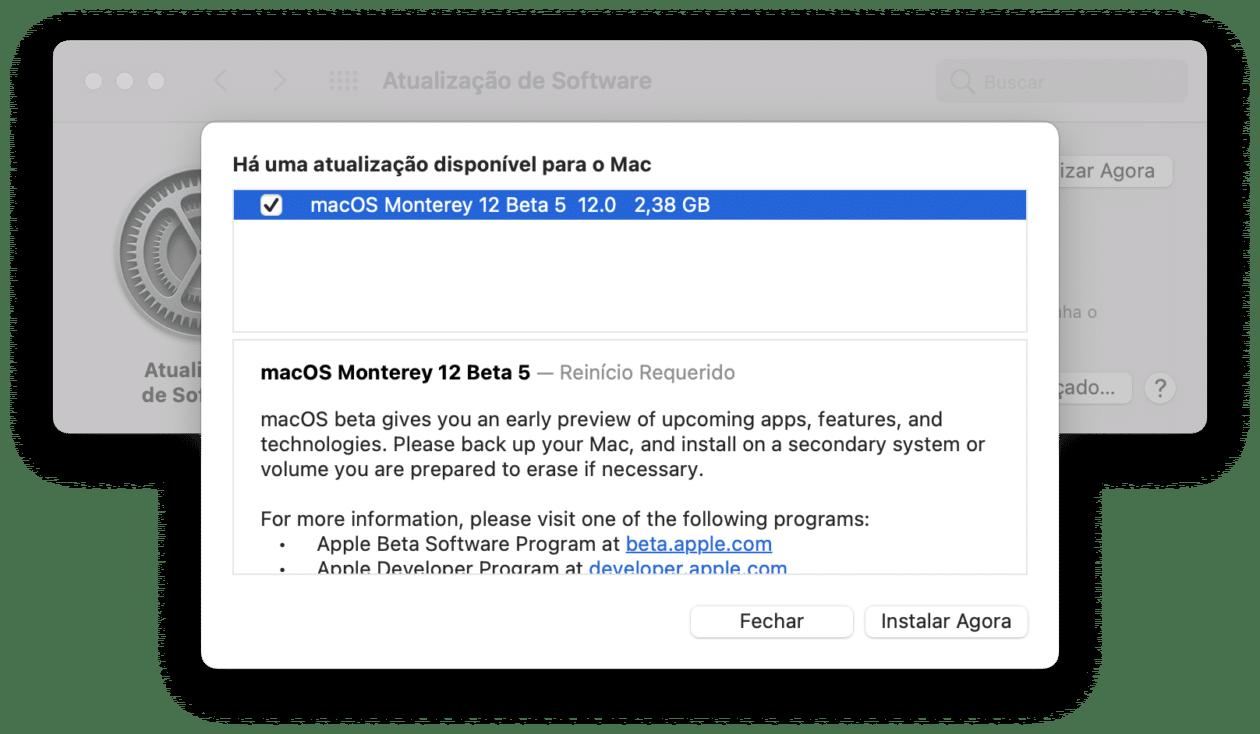 Quinta versão beta do macOS Monterey 12