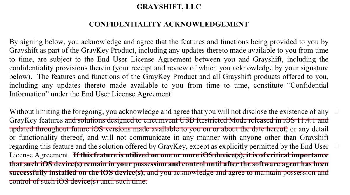 Trecho de contrato da Grayshift obtido pela Motherboard