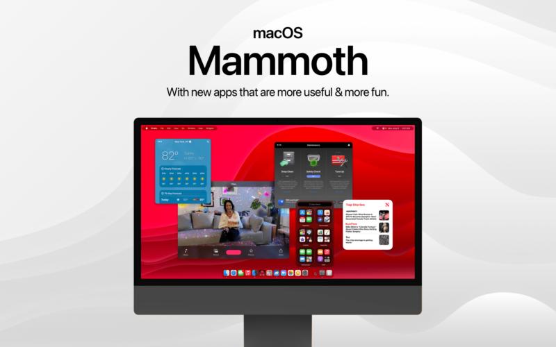 "Conceito de ""macOS Mammoth"" por Parker Ortolani"
