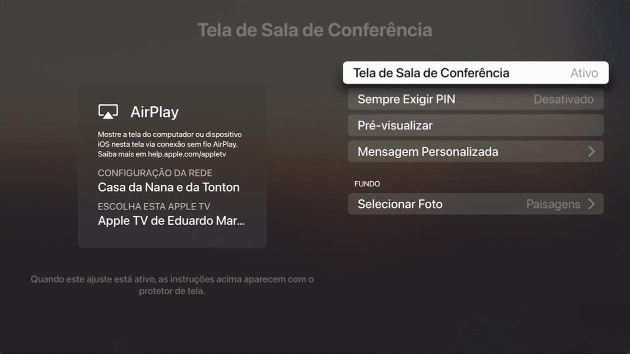 Recurso Sala de Conferência, da Apple TV