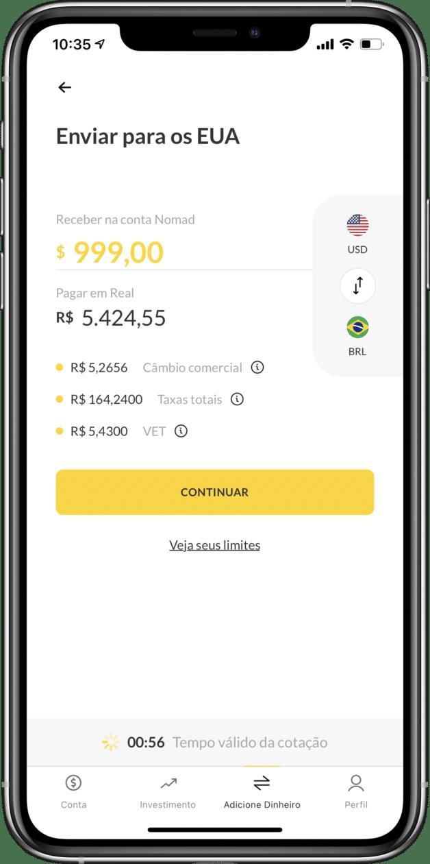 Cotação na Nomad