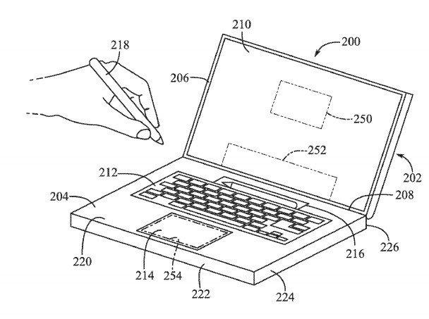 Desenho da patente do Apple Pencil no MacBook