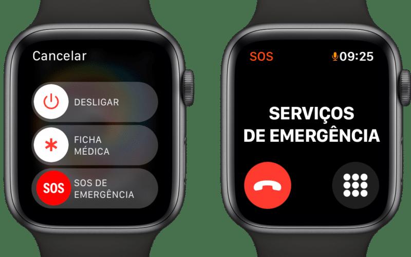 SOS de emergência do Apple Watch
