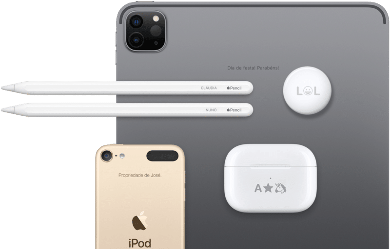 Gravação a laser (engraving) em iPad, Apple Pencil, iPod touch e AirPods Pro