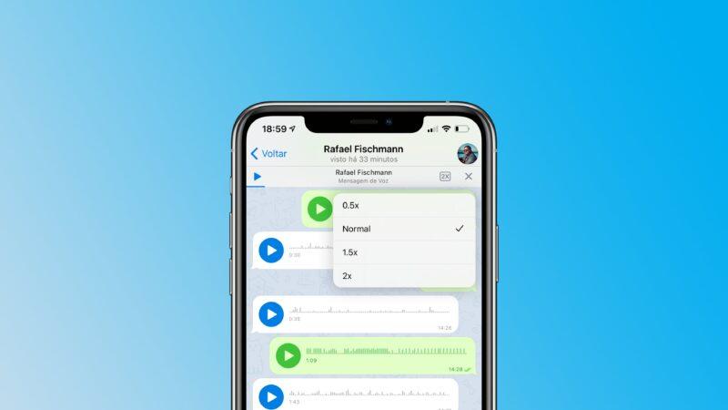 velocidade de áudios Telegram