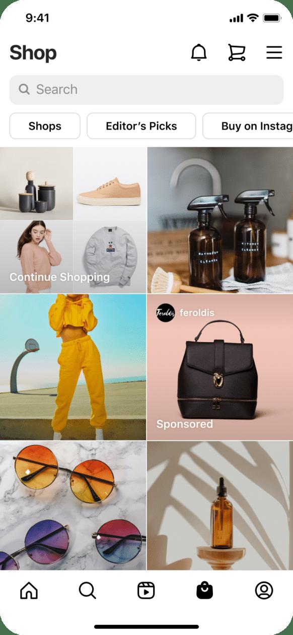 Anúncios na aba Loja, do Instagram