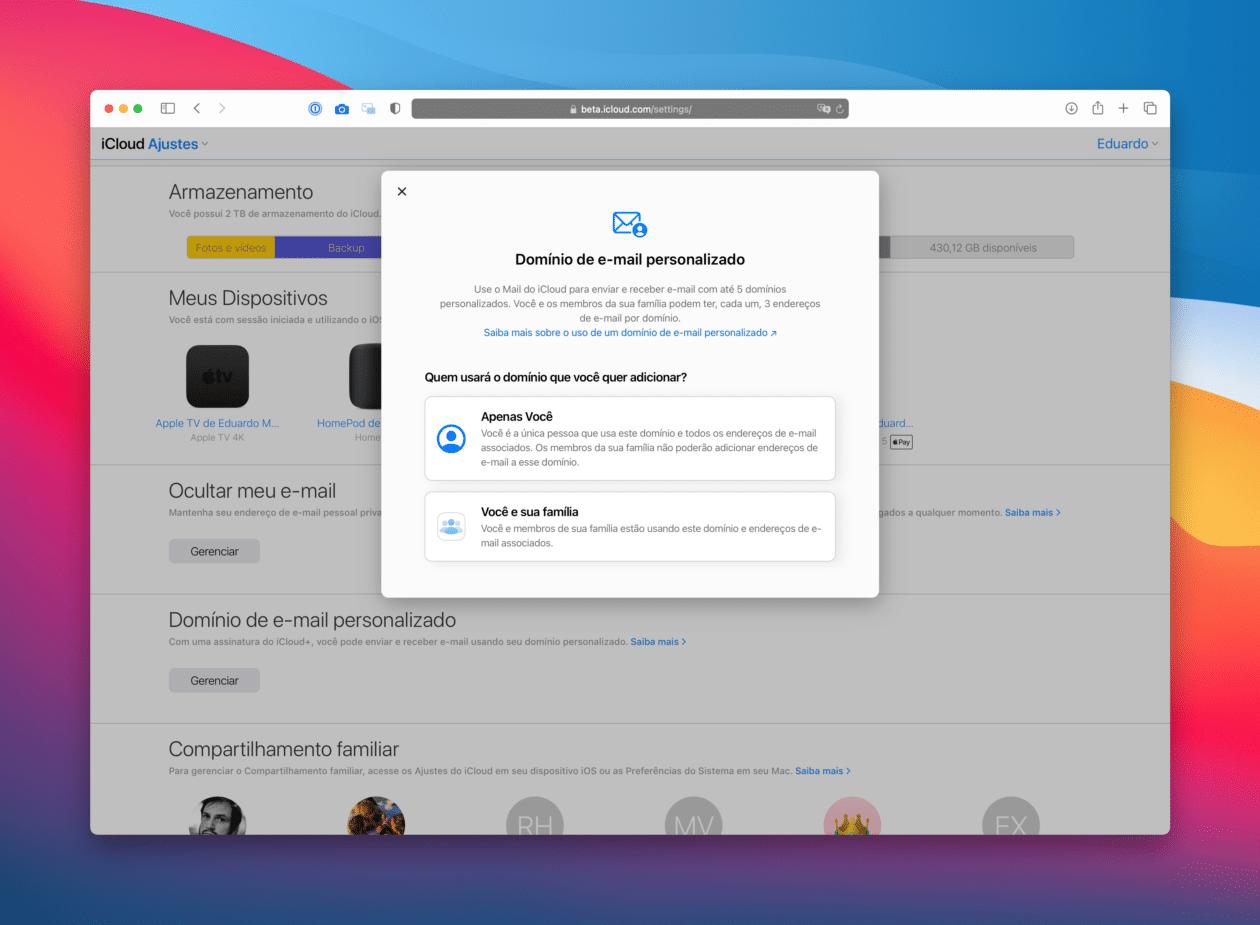Domínio personalizado no iCloud+