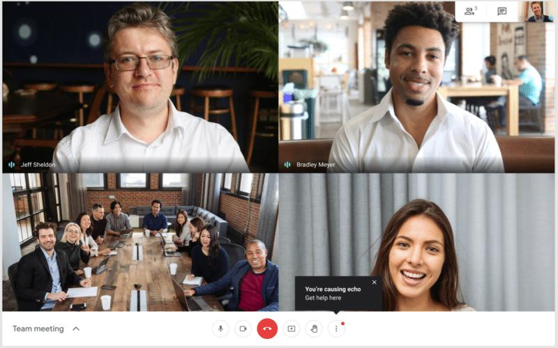 Alerta de eco no Google Meet