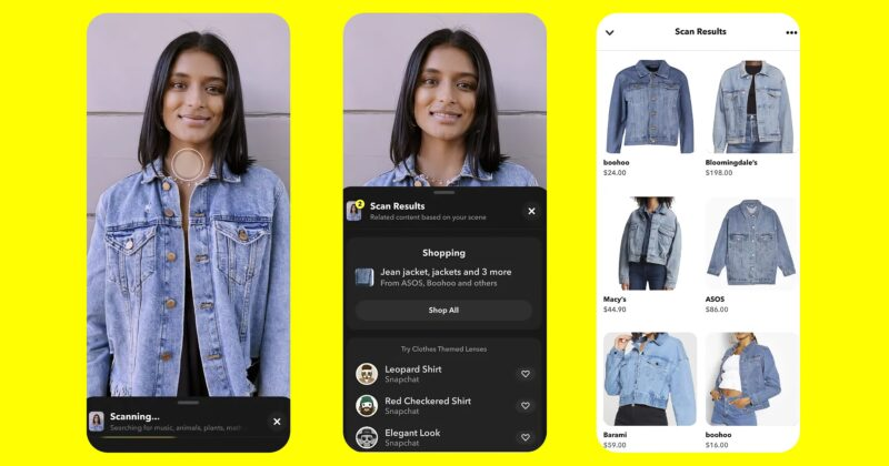 Atualização do recurso Scan, do Snapchat