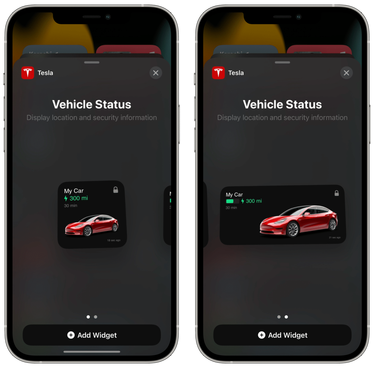 Widgets do app Tesla
