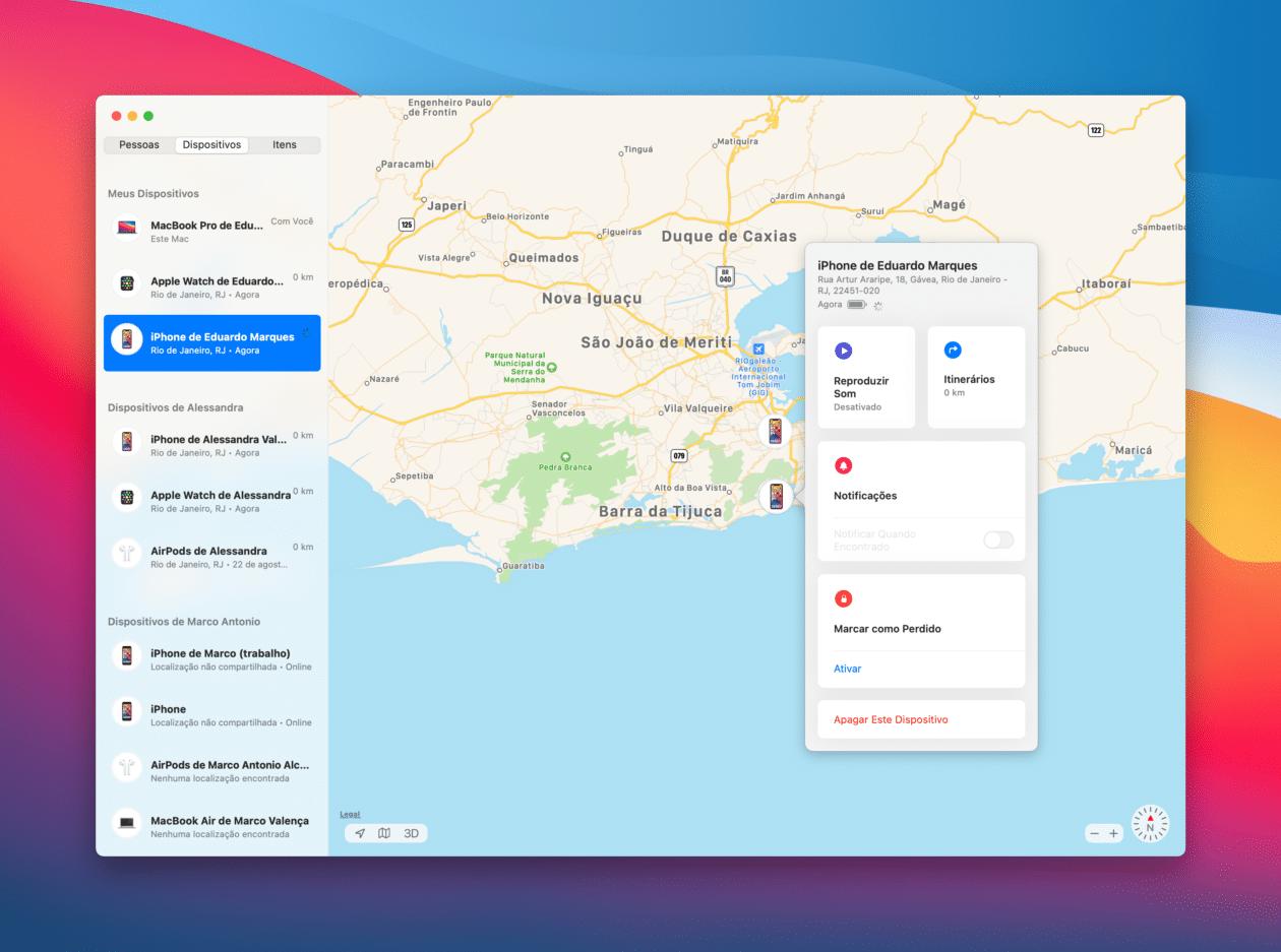 Localizando o iPhone no Buscar do macOS
