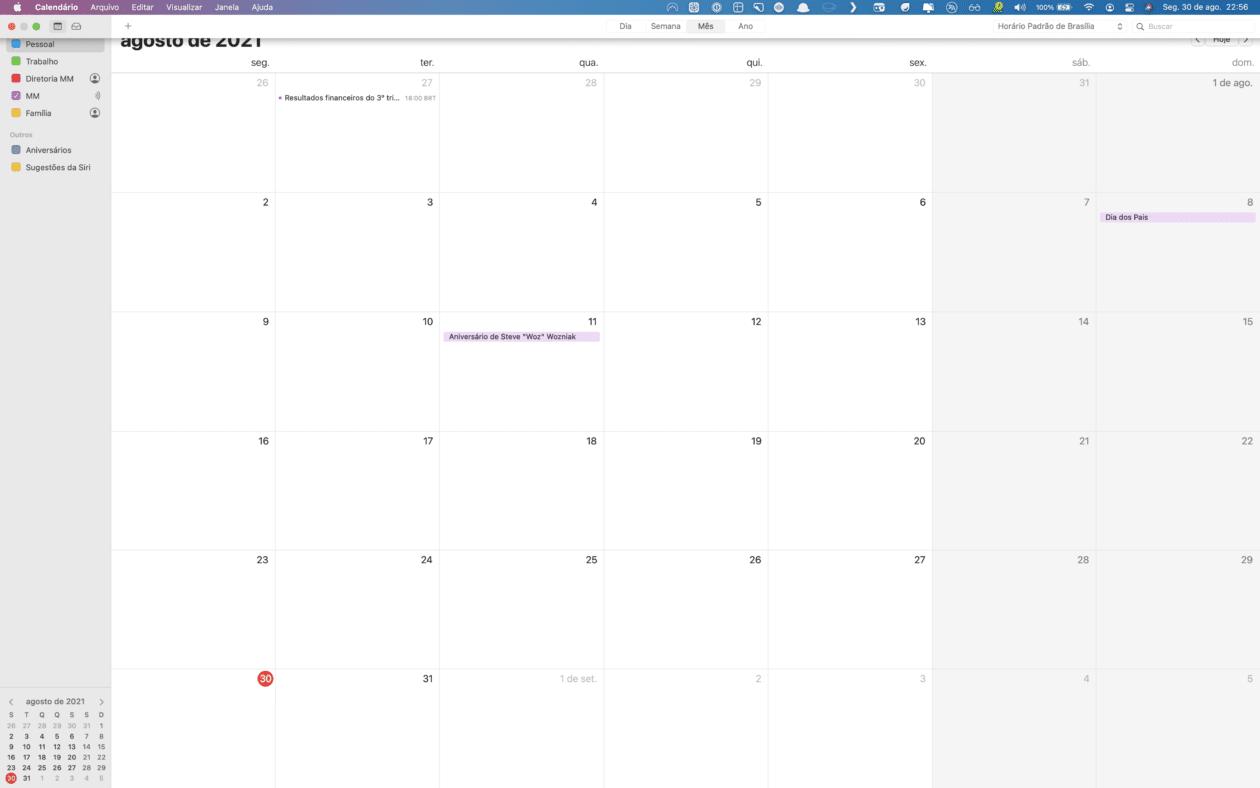 Usando o Calendário em tela cheia