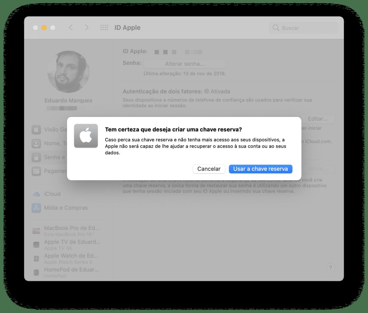 Criando uma chave reserva no macOS
